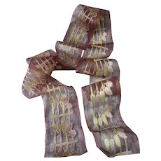 Delicious old French sheer ribbon : silk foliage motifs : 76 x 3  5/8th inches : sewing projects