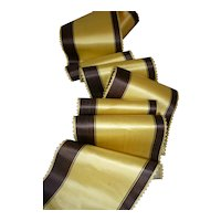 Delicious antique French unused silk satin striped ribbon : picots edges : Jumeau doll projects : 104 x 4 inches