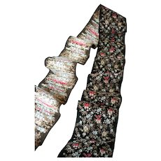 Lovely old French woven silk ribbon : tiny floral & foliage motifs : Jumeau doll sewing  projects : 48 inches