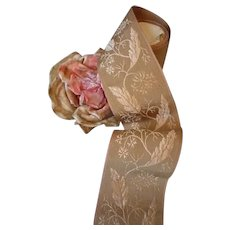 Unusual old French silk mix grosgrain ribbon : floral & foliage motifs : dolls sewing projects : 81 inches