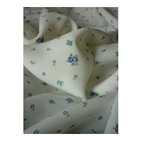 Pretty vintage fabric with tiny blue & green floral motifs : unused : doll projects : 36 inches