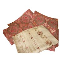 Bundle of antique silk mix brocade fabrics : floral motifs : doll projects