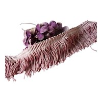 Delicious vintage French pink & white silky feel fringe trim : 1 3/4 inch wide : doll projects