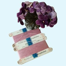 Part card of delicious French pink silk sewing thread: antique doll sewing projects : 30 & 10 ? meters