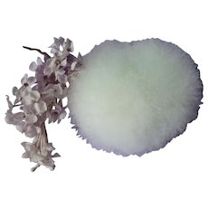 Fluffy 5 inch white - pale green tinge swans down powder puff : vanity jar or half doll projects