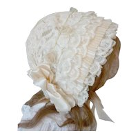 Gorgeous old French silk and lace baby bonnet : ribbon bows & roses : antique doll accessory