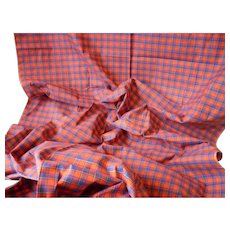 Morceau vintage French check : plaid cotton fabric, circa 1950's : unused old stock : 39 x 36 inches : doll projects