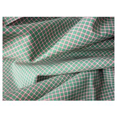Morceau French tiny check cotton fabric, circa 1950's : unused old stock : dolls sewing projects : 39 x 36 inches