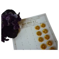 Set 10 old French yellow silk buttons : unused : still on original card : 9/16th inch diameter : doll sewing projects