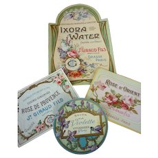 Collection 4 delicious old French small unused perfume labels , circa 1900 : antique dolls scrapbook