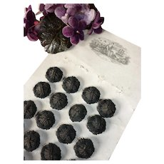 10 superb 19th C. black passementerie buttons : still on original shop card : 5/8th diameter : doll's sewing projects