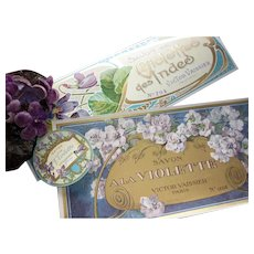 3 delicious old French ephemera Violet soap parfumerie labels , circa 1900 : projects or collection
