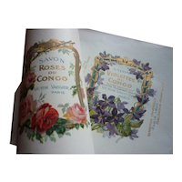 2 beautiful French unused Parfumerie soap labels, circa 1900 : roses & violets : projects  collection