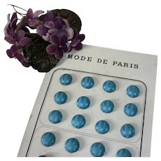 12 French decorative blue silk fabric covered buttons : original card : 1/2 inch : Jumeau  Bebe doll costume projects