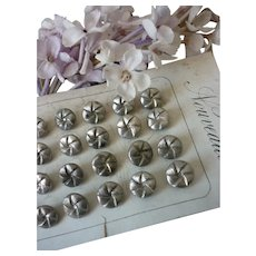 Set 6 old French Nouveauté silver metal buttons : 3/8th inch diameter : fashion doll costume projects