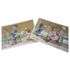 2 adorable antique French trade cards : young girls , toy cow , doll : doll display