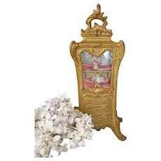 Elegant antique French gilded metal Rococo style miniature display cabinet or vitrine : 8 1/2 inches high