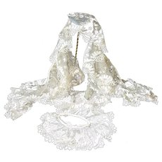 Ethereal 19th C. hand made silk Blonde large lace collar and cuff : re-working : antique doll projects