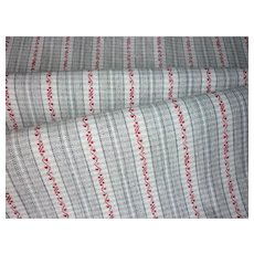 Morceau of old French striped cotton fabric : 18 x 13 1/2 inches : fashion doll clothing projects