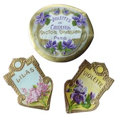 Collection 3 luxury small French embossed parfumerie labels : circa 1900 : doll scrapbook projects