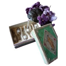Decorative 19th C. French box : 6 miniature perfume bottles , labels : antique doll accessory : 3 1/8th x 2 inches