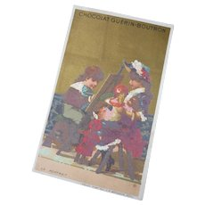Adorable antique French Guerin-Boutron trade card : doll's portrait : young girls : doll display
