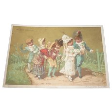Charming  antique French Au Bon Marche trade card : children's wedding : doll display
