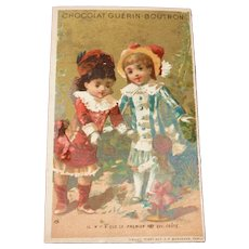 Charming antique French trade card : young girls  & doll fancy costumes : doll display
