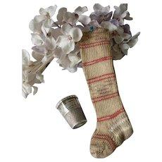 Delightful pair of miniature dolls socks or stockings, circa 1900 : unused : fashion doll