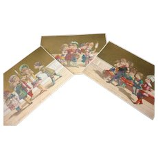 3 Charming antique trade cards : young girls , boys, doll : fancy costumes bows bonnets : antique doll display