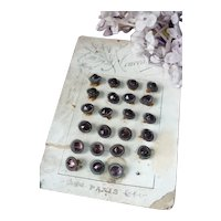 6 charming old French tiny violet faceted glass and metal buttons : 3/8th inches diameter : doll costume projects