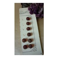 8 delicious old French ruby red glass and gold knot buttons : 3/8th inch or 9mm diameter : Jumeau Bebe doll sewing projects