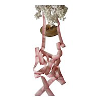 Rare find......delicious antique French narrow pink & white ombre silk ribbon : unused : 72 inches : antique doll projects