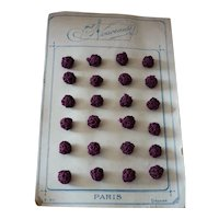 6 delicious old French small purple passementerie buttons : 7/16th inch / 1 cm : antique doll projects