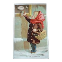 Charming old French trade card : young girl : La Charité : antique doll display