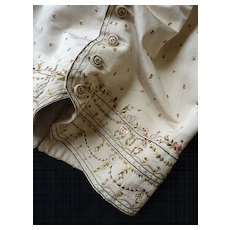 Splendid  gentleman's taffeta & silk embroidered waistcoat Louis XVI period