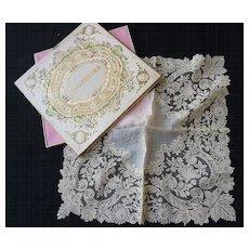 Exquisite antique gossamer Brussels point de gaze lace handkerchief