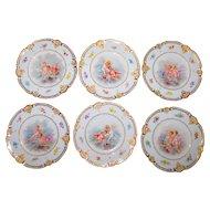 Set of 6 Hand-Painted Cherub Plates- French Porcelain w/Raised Gilt