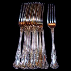 """9 Gorham Cambridge Sterling Silver 7"""" Fork- Reserved for Cathy"""