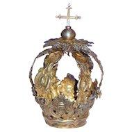 Sterling Silver Baroque Style Antique Santos Crown