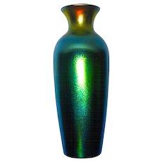 "Large 11"" Durand Blue Lustre Classical Vase w/Exceptional Color"