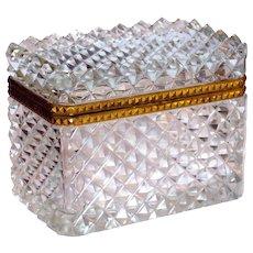 Fine Baccarat Super Quality French Cut Crystal Casket Dresser Box w/Ormolu Mounts