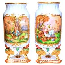 Pair Henri Ardent & Cie Limoges Large Orientalist Vases w/Elephant Feet