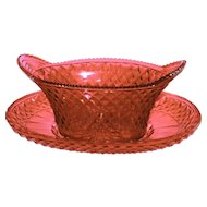 Very Rare Large Antique Cranberry Cut Glass Centerpiece Bowl w/Underplate