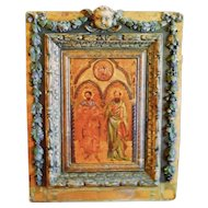 Carved Architectural Frame Door w/Cherub and Apostle Painting