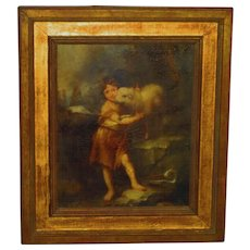 Ca. 1890 Grand Tour Painting Style of an Old Master John the Baptist.