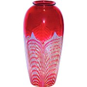 Signed Durand Cranberry Pulled Feather Art Glass Vase