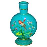 Large Moon Flask Opaline Decorated Art Glass Vase Bird & Butterfly