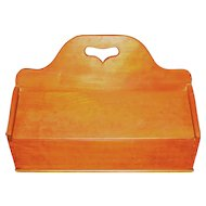 Ca. 1850 Cherry Dovetailed Sewing Caddy w/Heart Cut Out Handle