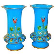 Superb Pair of Austrian Lobmeyr Blue Opaline Heavy Enameled Vases